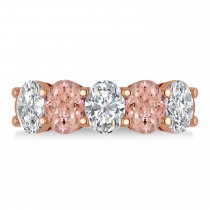 Oval Diamond & Morganite Five Stone Ring 14k Rose Gold (4.50ct)