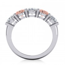 Oval Diamond & Morganite Five Stone Ring 14k White Gold (4.50ct)