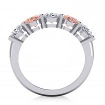 Oval Diamond & Morganite Five Stone Ring 14k White Gold (4.50ct)|escape