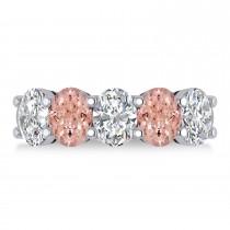 Oval Diamond & Morganite Five Stone Ring 14k White Gold (4.50ct)
