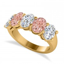 Oval Diamond & Morganite Five Stone Ring 14k Yellow Gold (4.50ct)