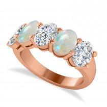 Oval Diamond & Opal Five Stone Ring 14k Rose Gold (4.00ct)