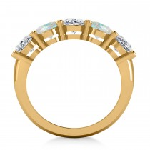 Oval Diamond & Opal Five Stone Ring 14k Yellow Gold (4.00ct)
