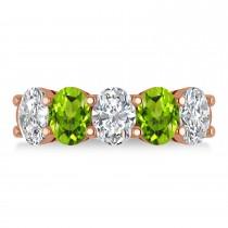 Oval Diamond & Peridot Five Stone Ring 14k Rose Gold (4.90ct)