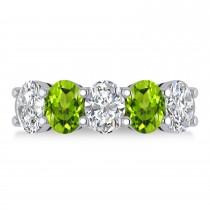 Oval Diamond & Peridot Five Stone Ring 14k White Gold (4.90ct)