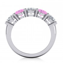 Oval Diamond & Pink Sapphire Five Stone Ring 14k White Gold (5.00ct)