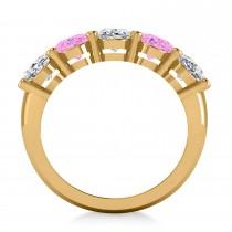 Oval Diamond & Pink Sapphire Five Stone Ring 14k Yellow Gold (5.00ct)