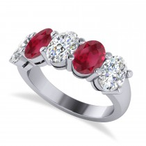 Oval Diamond & Ruby Five Stone Ring 14k White Gold (5.00ct)