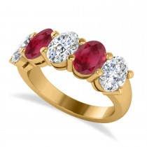 Oval Diamond & Ruby Five Stone Ring 14k Yellow Gold (5.00ct)
