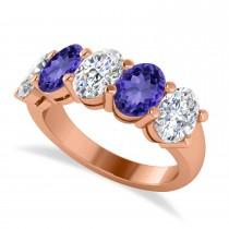 Oval Diamond & Tanzanite Five Stone Ring 14k Rose Gold (5.00ct)