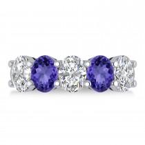 Oval Diamond & Tanzanite Five Stone Ring 14k White Gold (5.00ct)