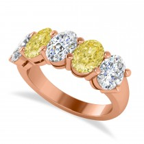 Oval Yellow & White Diamond Five Stone Ring 14k Rose Gold (5.00ct)