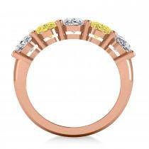 Oval Yellow & White Diamond Five Stone Ring 14k Rose Gold (5.00ct)