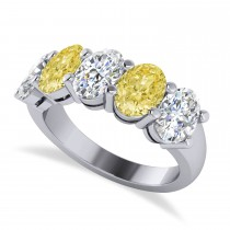 Oval Yellow & White Diamond Five Stone Ring 14k White Gold (5.00ct)
