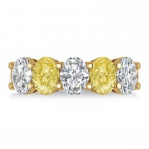 Oval Yellow & White Diamond Five Stone Ring 14k Yellow Gold (5.00ct)