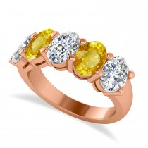 Oval Diamond & Yellow Sapphire Five Stone Ring 14k Rose Gold (5.00ct)