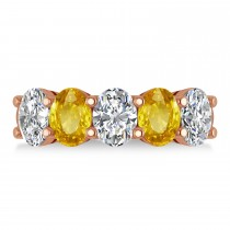 Oval Diamond & Yellow Sapphire Five Stone Ring 14k Rose Gold (5.00ct)