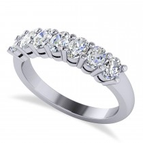 Oval Diamond Seven Stone Wedding Band 14k White Gold (1.40ct)