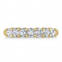 Oval Diamond Seven Stone Wedding Band 14k Yellow Gold (1.40ct)