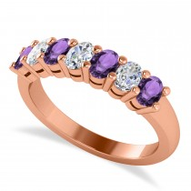 Oval Diamond & Amethyst Seven Stone Ring 14k Rose Gold (1.40ct)