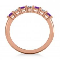 Oval Diamond & Amethyst Seven Stone Ring 14k Rose Gold (1.40ct)