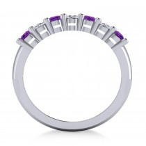 Oval Diamond & Amethyst Seven Stone Ring 14k White Gold (1.40ct)