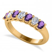 Oval Diamond & Amethyst Seven Stone Ring 14k Yellow Gold (1.40ct)