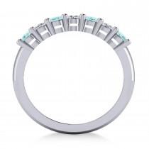 Oval Diamond & Aquamarine Seven Stone Ring 14k White Gold (1.40ct)