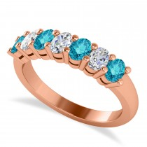 Oval Blue & White Diamond Seven Stone Ring 14k Rose Gold (1.40ct)