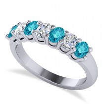 Oval Blue & White Diamond Seven Stone Ring 14k White Gold (1.40ct)