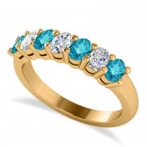Oval Blue & White Diamond Seven Stone Ring 14k Yellow Gold (1.40ct)