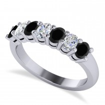 Oval Black & White Diamond Seven Stone Ring 14k White Gold (1.40ct)