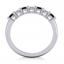 Oval Black & White Diamond Seven Stone Ring 14k White Gold (1.40ct)