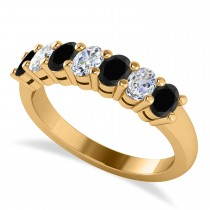 Oval Black & White Diamond Seven Stone Ring 14k Yellow Gold (1.40ct)