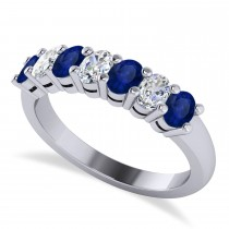 Oval Diamond & Blue Sapphire Seven Stone Ring 14k White Gold (1.40ct)