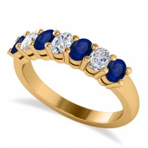 Oval Diamond & Blue Sapphire Seven Stone Ring 14k Yellow Gold (1.40ct)