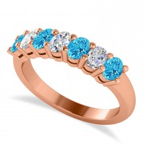 Oval Diamond & Blue Topaz Seven Stone Ring 14k Rose Gold (1.40ct)