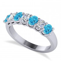 Oval Diamond & Blue Topaz Seven Stone Ring 14k White Gold (1.40ct)