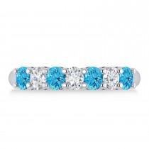 Oval Diamond & Blue Topaz Seven Stone Ring 14k White Gold (1.40ct)
