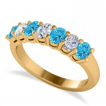 Oval Diamond & Blue Topaz Seven Stone Ring 14k Yellow Gold (1.40ct)