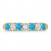 Oval Diamond & Blue Topaz Seven Stone Ring 14k Yellow Gold (1.40ct)