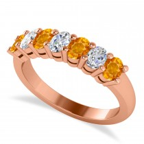 Oval Diamond & Citrine Seven Stone Ring 14k Rose Gold (1.40ct)
