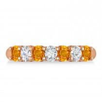 Oval Diamond & Citrine Seven Stone Ring 14k Rose Gold (1.40ct)