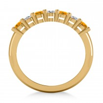 Oval Diamond & Citrine Seven Stone Ring 14k Yellow Gold (1.40ct)