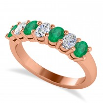 Oval Diamond & Emerald Seven Stone Ring 14k Rose Gold (1.40ct)