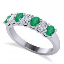 Oval Diamond & Emerald Seven Stone Ring 14k White Gold (1.40ct)
