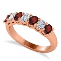 Oval Diamond & Garnet Seven Stone Ring 14k Rose Gold (1.40ct)