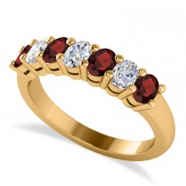 Oval Diamond & Garnet Seven Stone Ring 14k Yellow Gold (1.40ct)