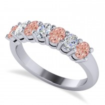 Oval Diamond & Morganite Seven Stone Ring 14k White Gold (1.40ct)