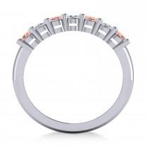 Oval Diamond & Morganite Seven Stone Ring 14k White Gold (1.40ct)|escape